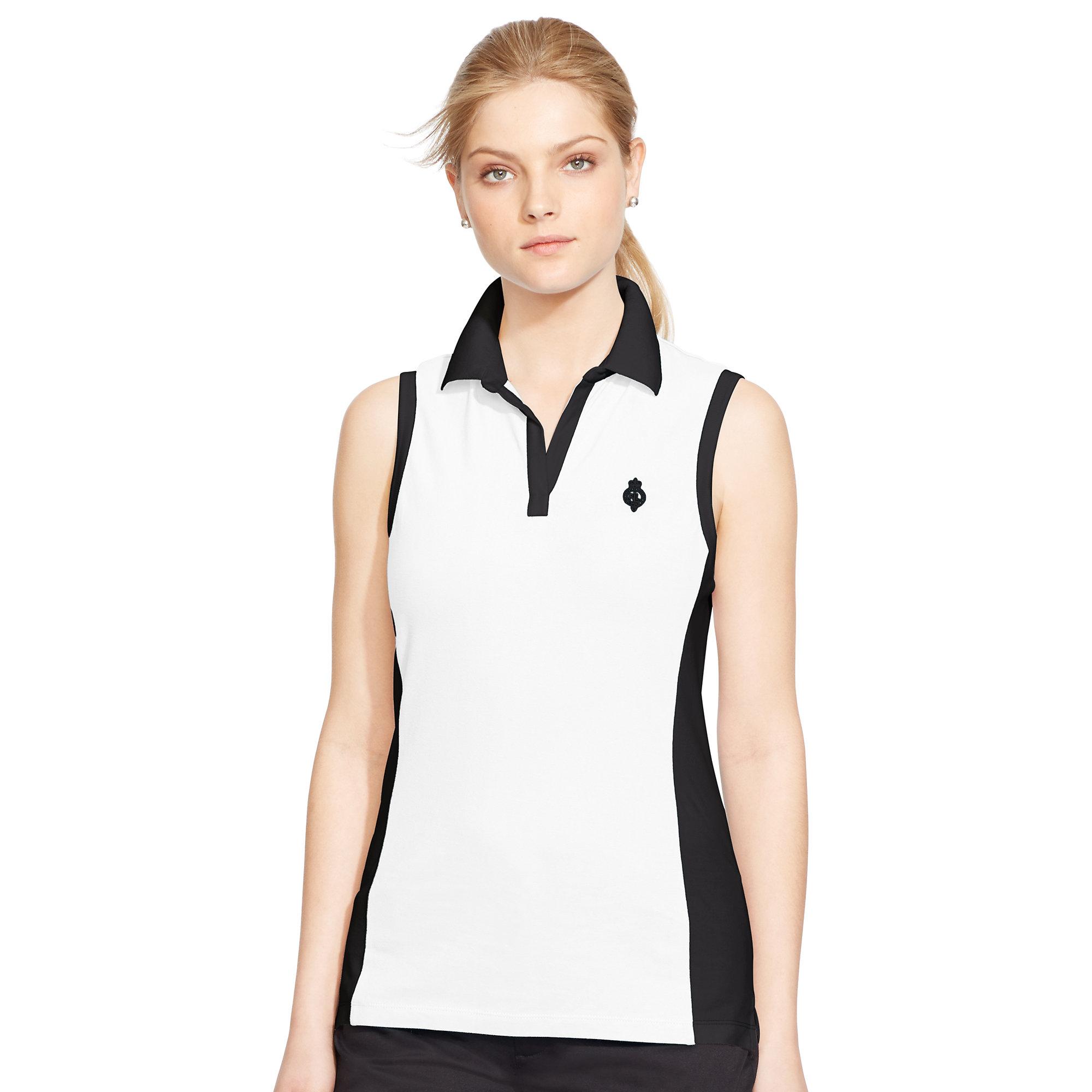 Lyst ralph lauren cotton sleeveless polo shirt in black for Black sleeveless shirt womens