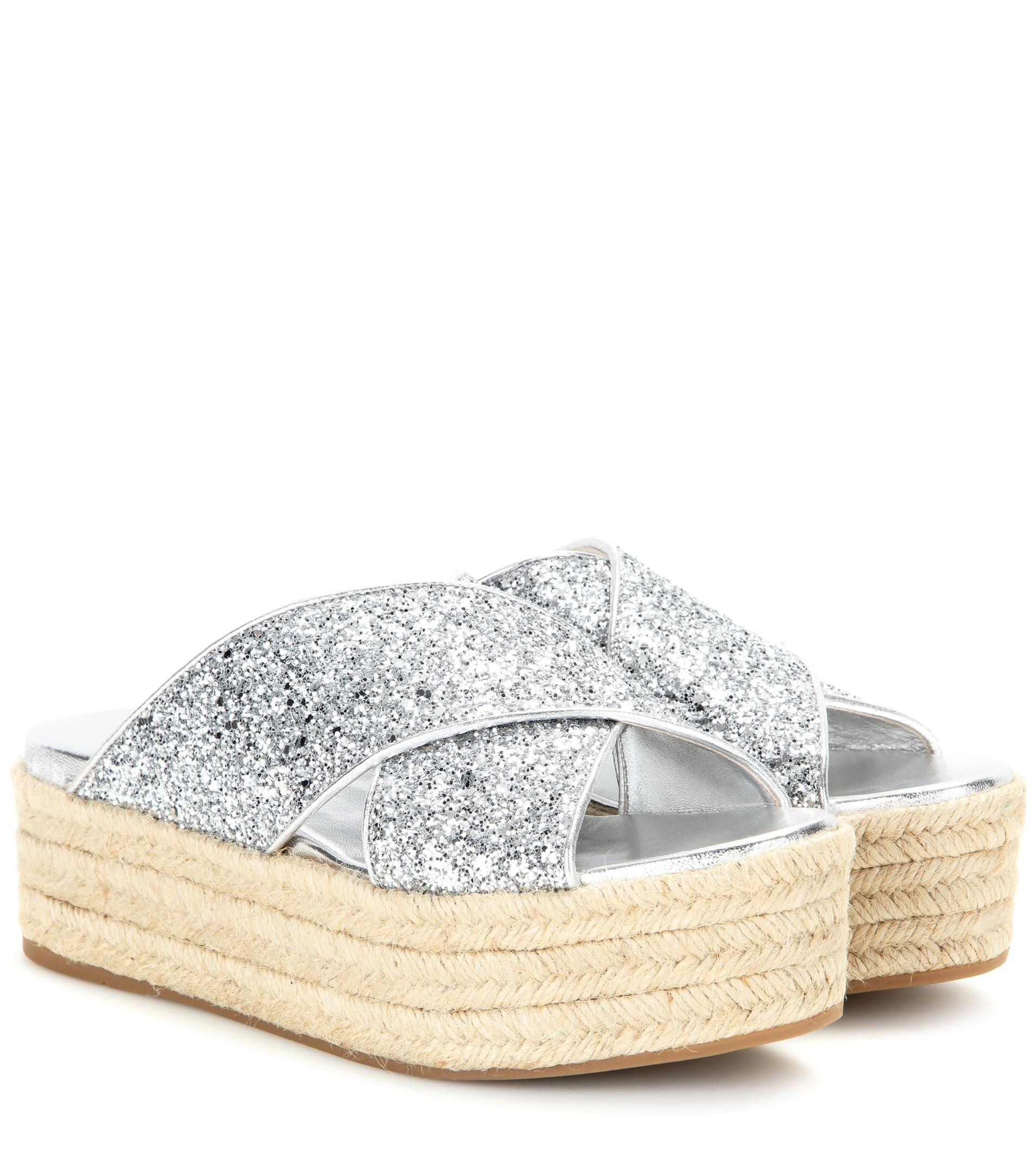 0f1216005ac Lyst - Miu Miu Glitter Platform Sandals in Blue