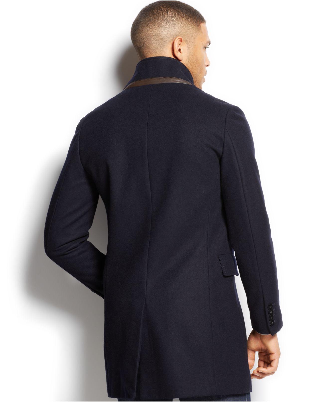 Sean John Wool-bend Quilted-bib City Coat In Blue For Men