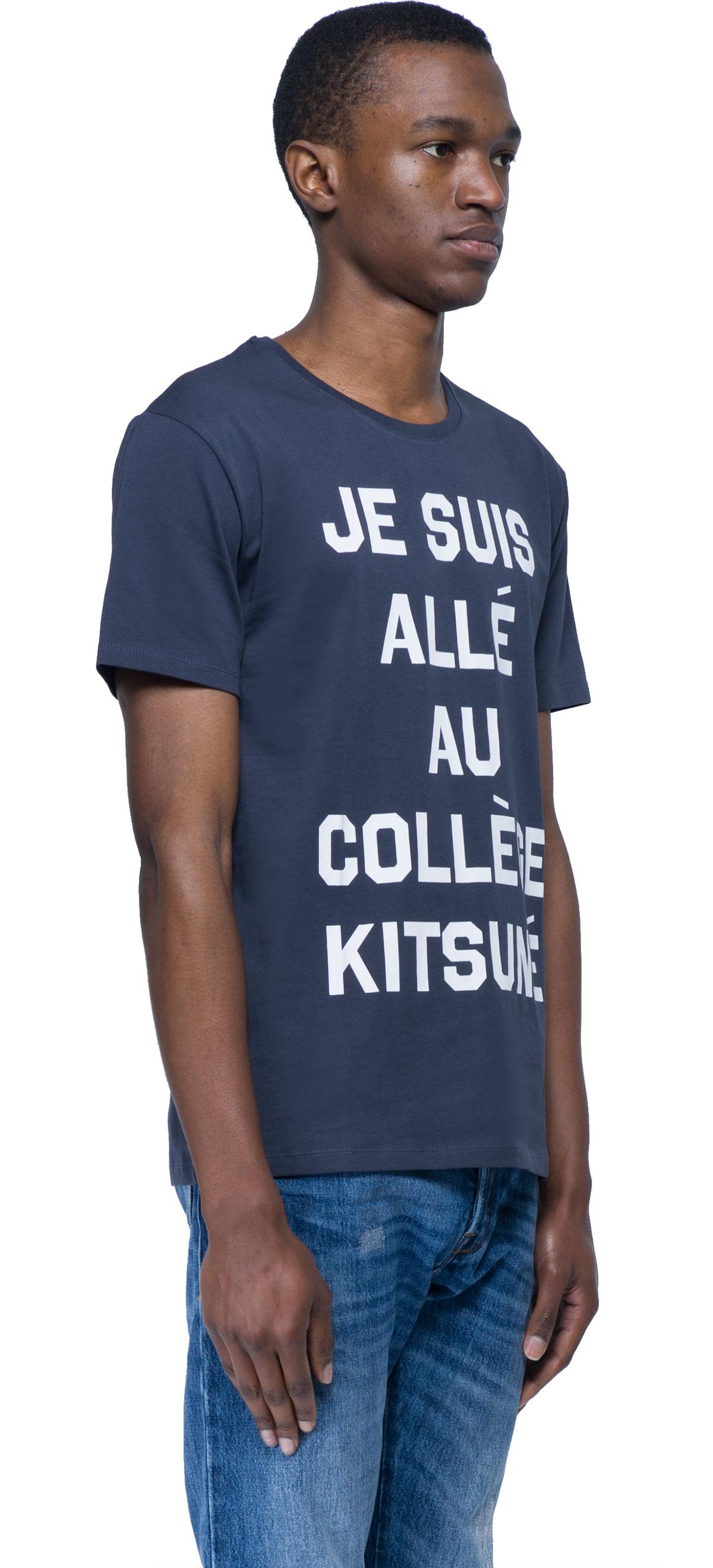 Maison kitsun coll ge kitsun t shirt in blue for men lyst for T shirts for college guys