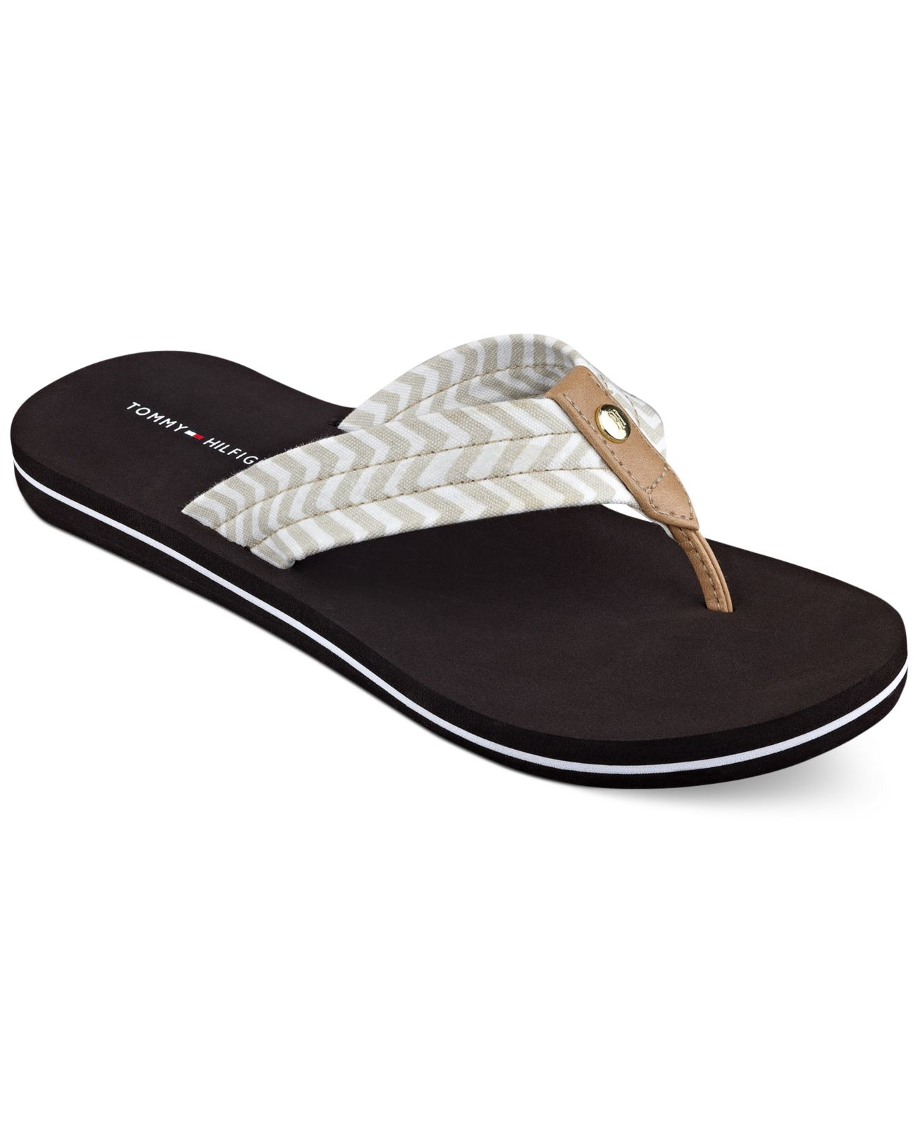 tommy hilfiger women 39 s cave flip flops in black lyst. Black Bedroom Furniture Sets. Home Design Ideas