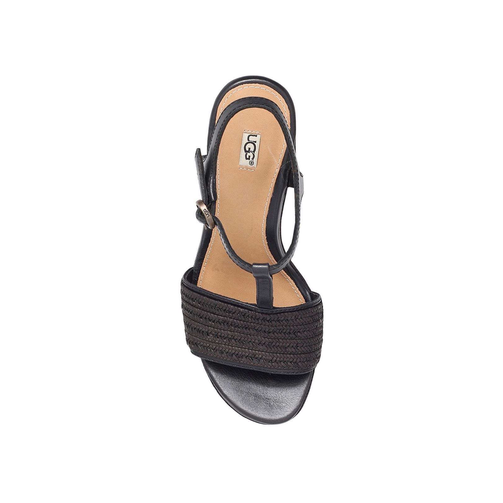 ugg fitchie high heel wedge sandals in black lyst
