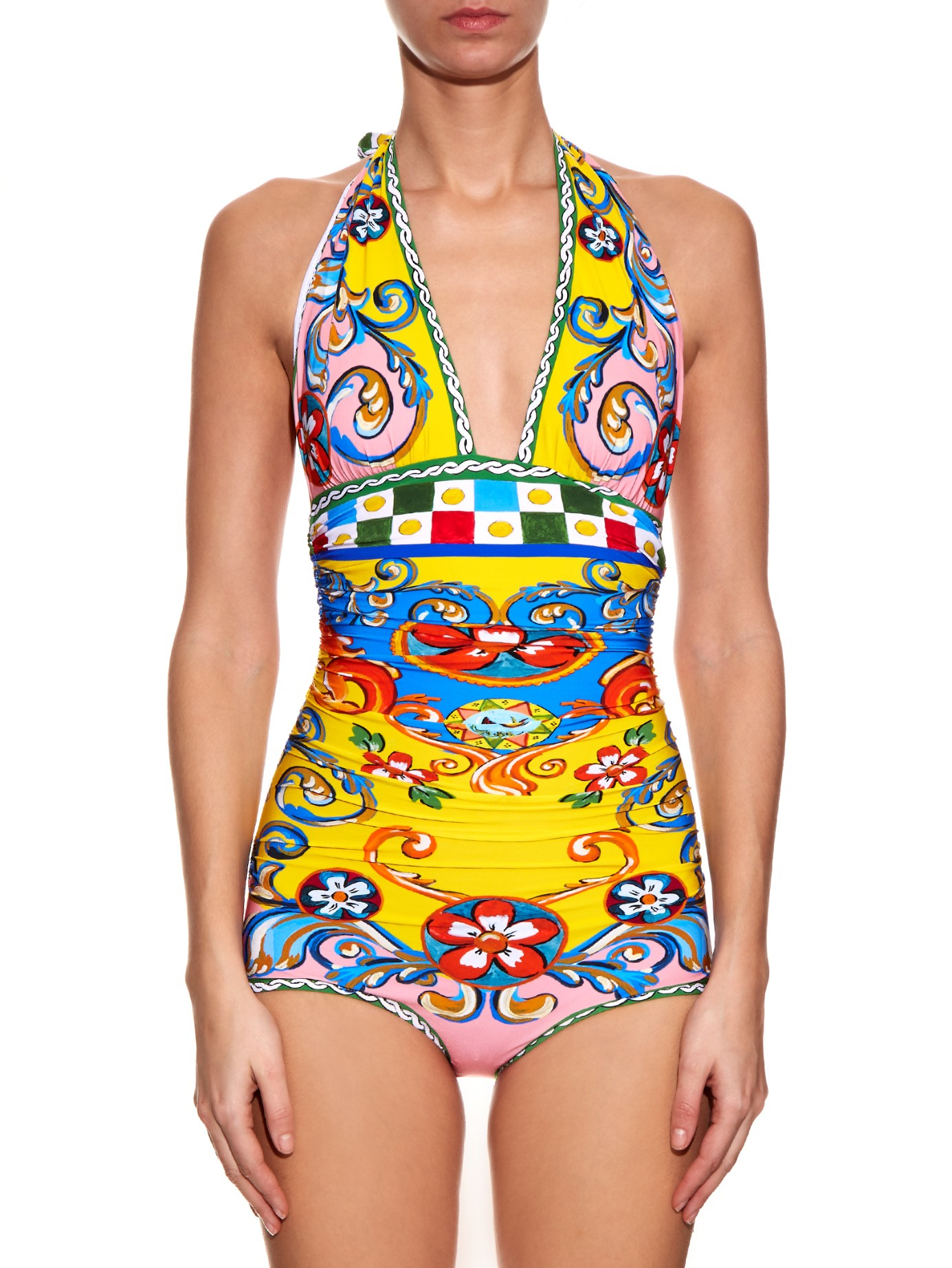 d82c5fa702 Lyst - Dolce   Gabbana Carretto-print Ruched Halterneck Swimsuit in Yellow