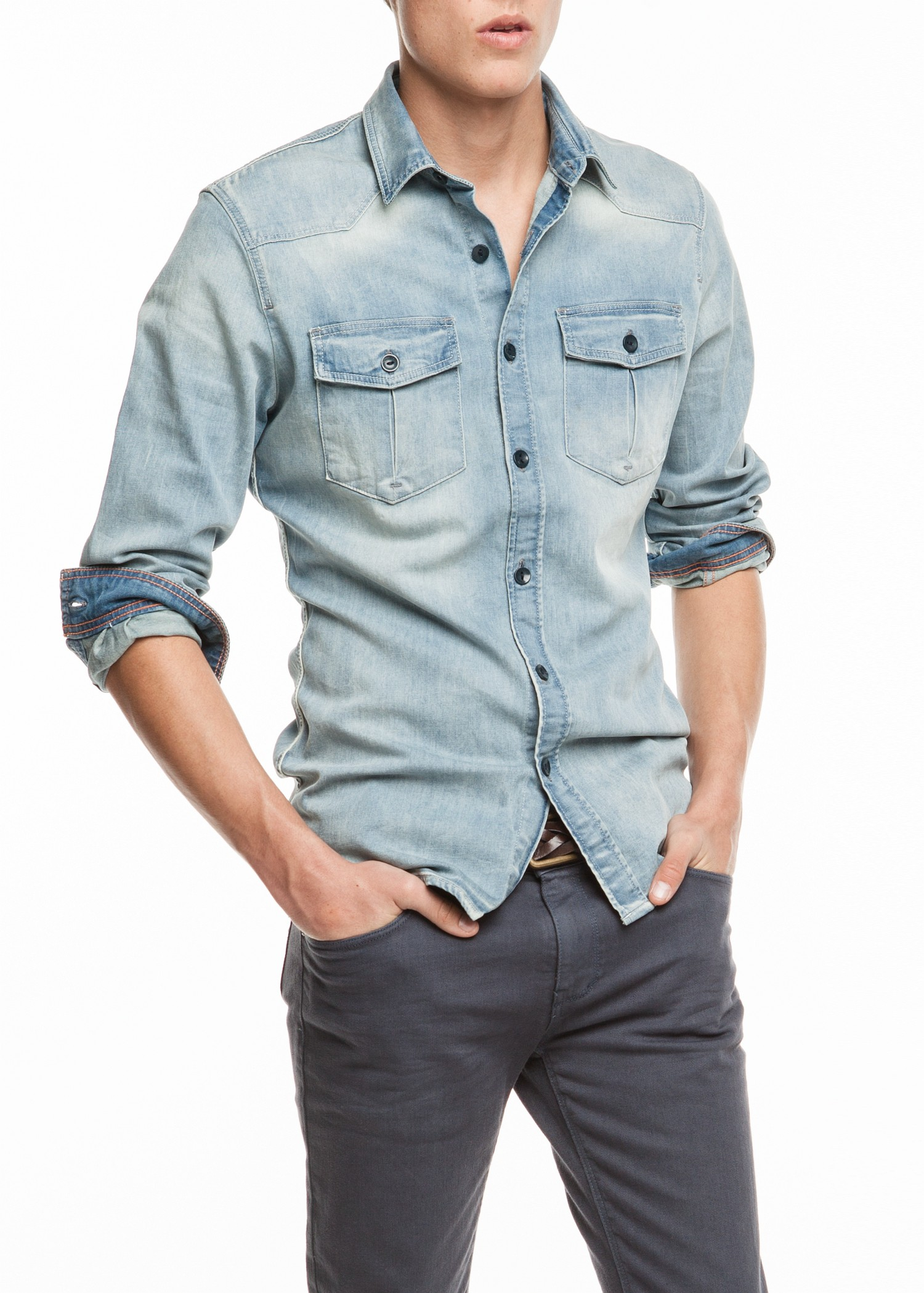 lyst mango classicfit light denim shirt in blue for men