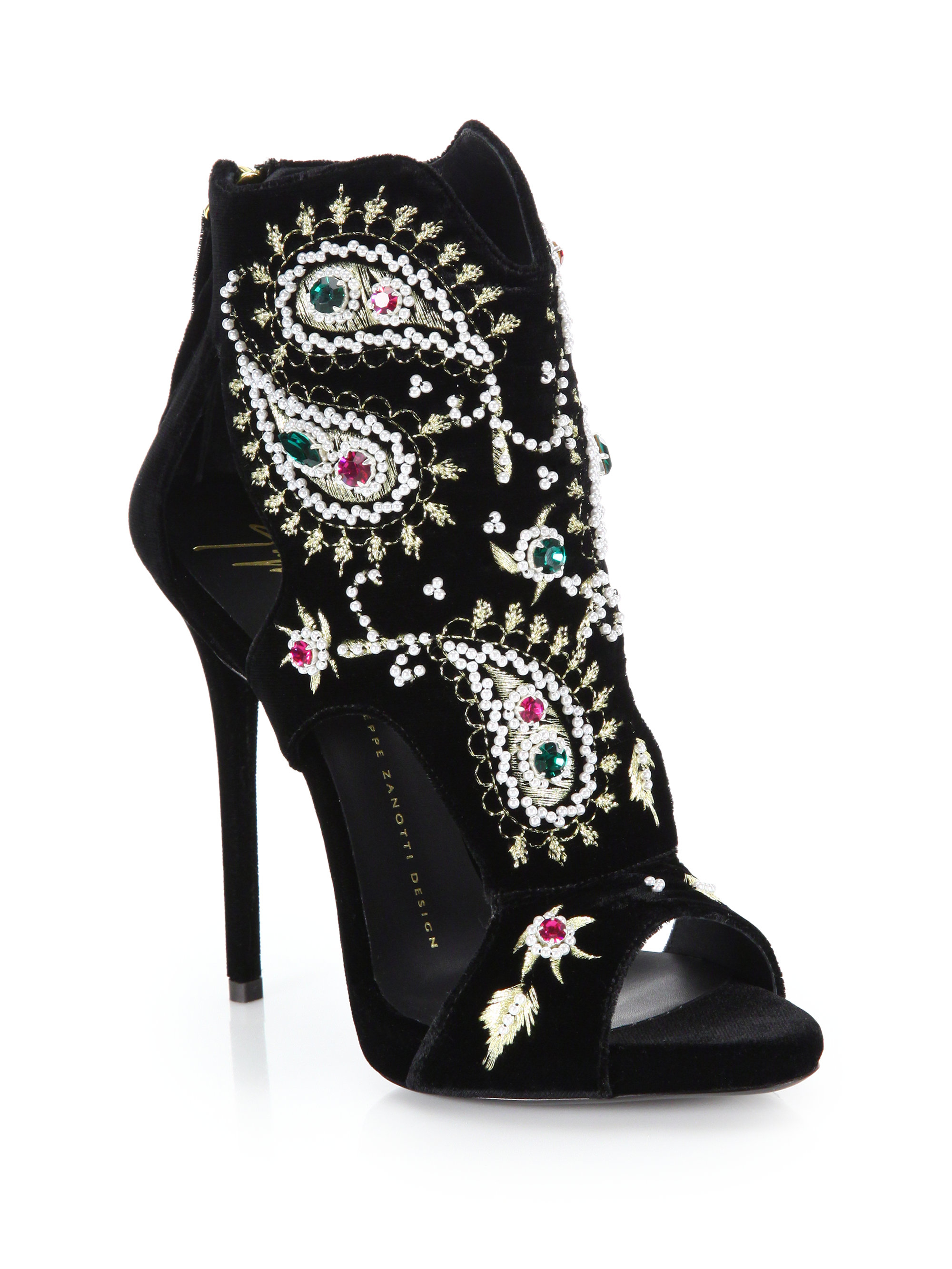 giuseppe zanotti pearl amp gemembellished embroidered