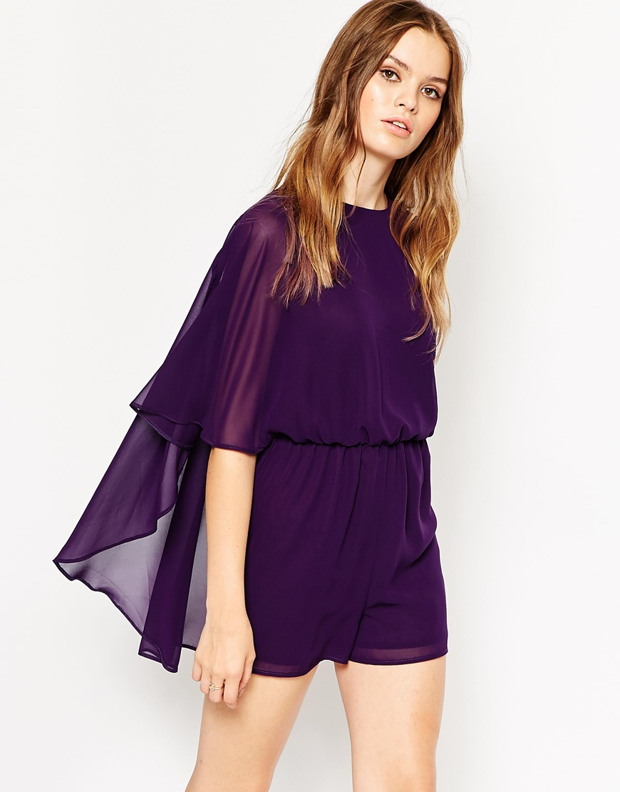 Asos Womens Woven Cape Romper With Flutter Sleeves Crystal Purple - Jumpsuits & Rompers