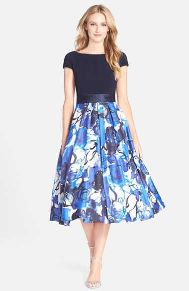 Lyst Theia Floral Print Fit Amp Flare Midi Dress In Blue