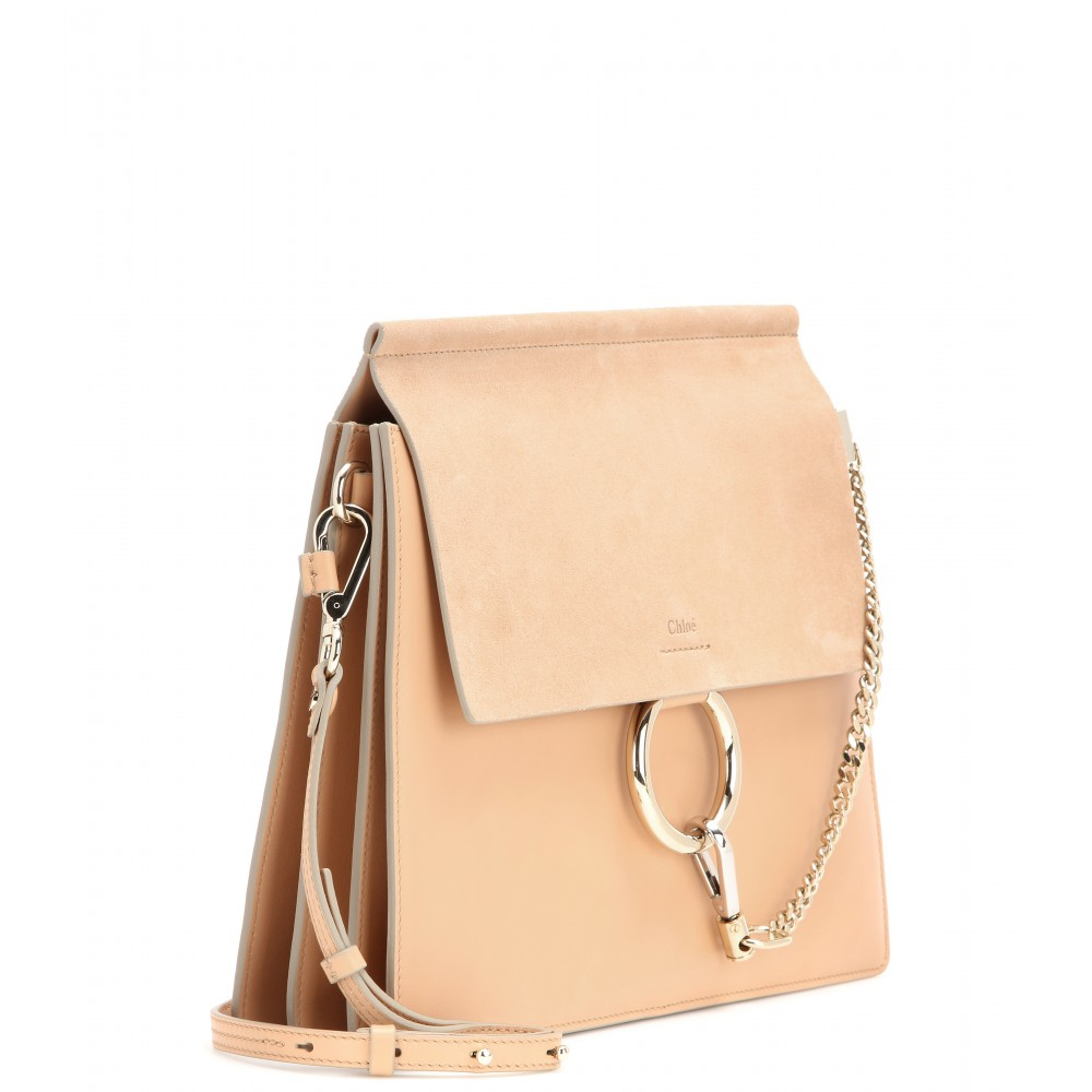 replica bags chloe - faye leather & suede clutch bag, black - chloe