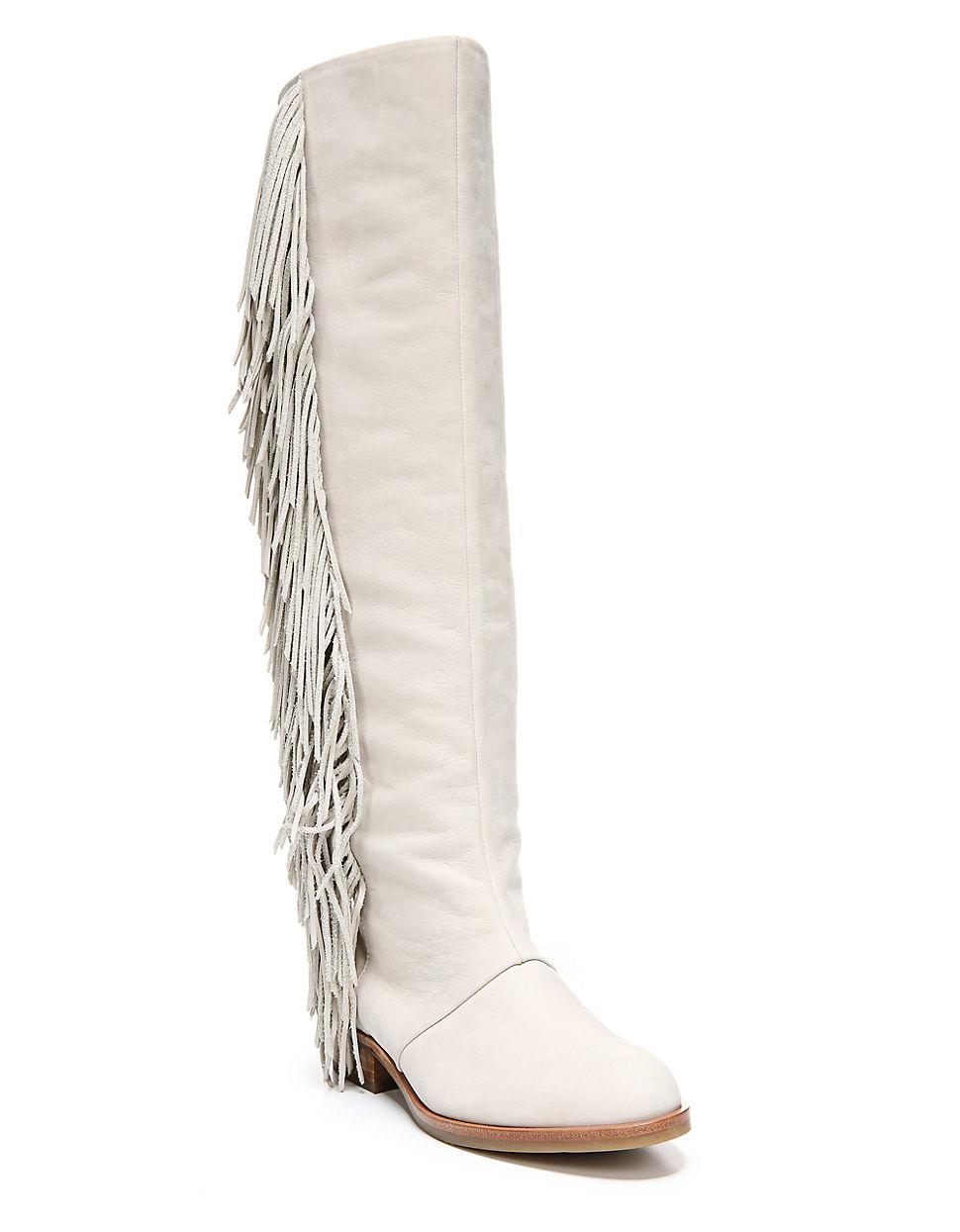 f8653426d2cfc Sam Edelman Josephine Fringe-trimmed Boots in White - Lyst