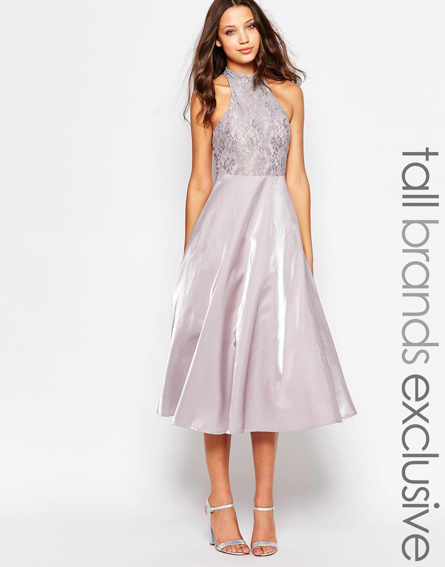 Lyst True Decadence High Neck Lace Top Prom Dress In Gray