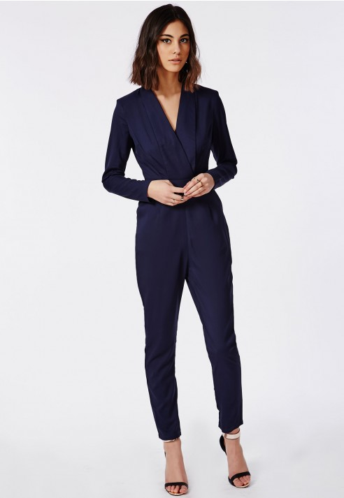 33b3b38d97 Missguided Premium Tailored Crepe Wrap Jumpsuit Navy in Blue - Lyst