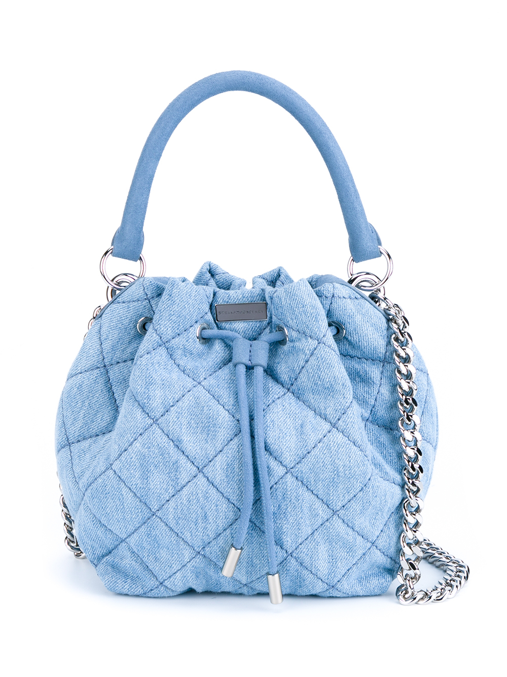 Lyst Stella Mccartney Beckett Quilted Denim Bucket Bag