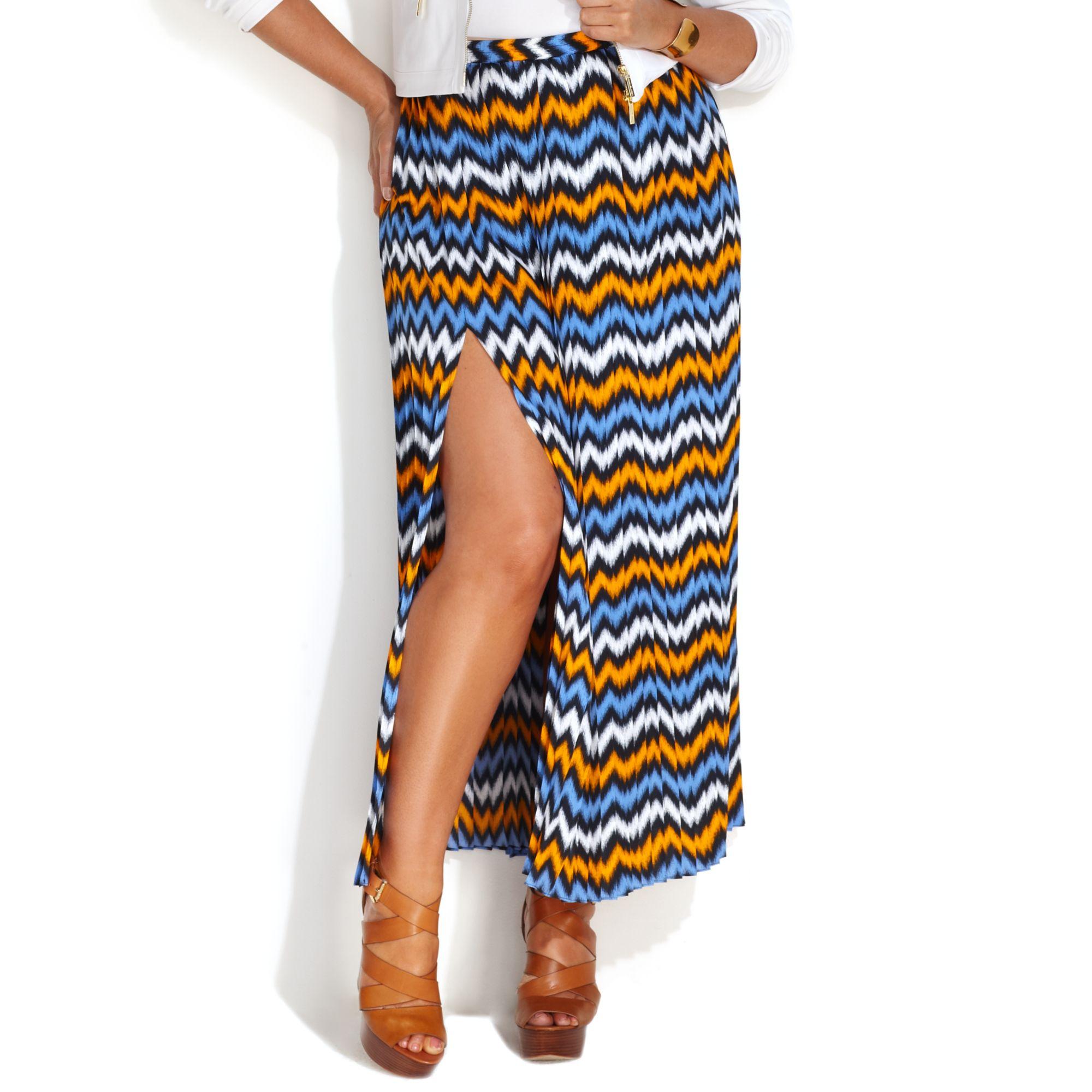 michael kors michael plus size printed pleated maxi skirt