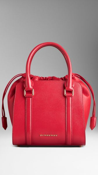 Burberry Small Patent London Leather Tote Bag in Red (bright rose) 2da88f6c3bd0e