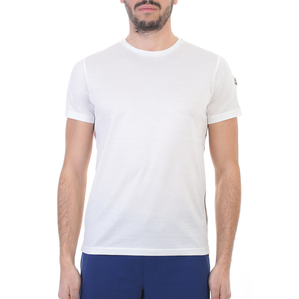 Moncler white cotton t shirt in white for men lyst for Mens white cotton t shirts
