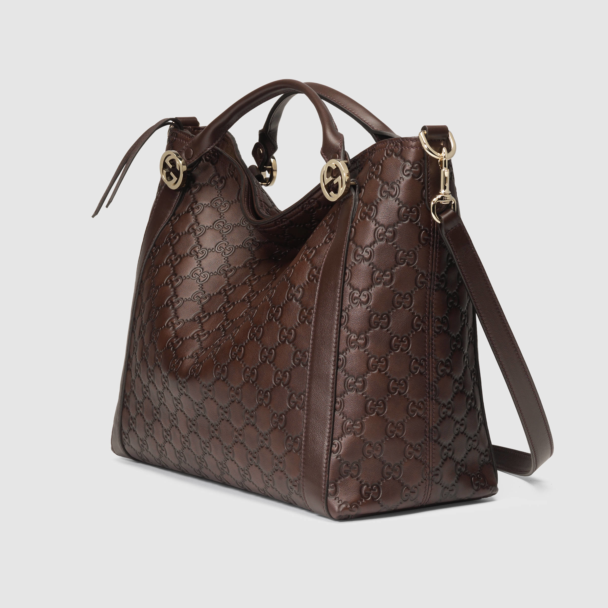 Lyst - Gucci Miss Gg Ssima Leather Top Handle Bag in Brown 2fda49936