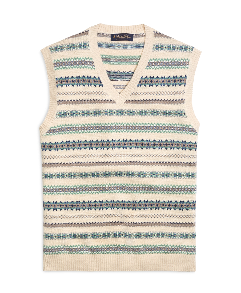 Brooks brothers Fair Isle Vest in Natural for Men | Lyst