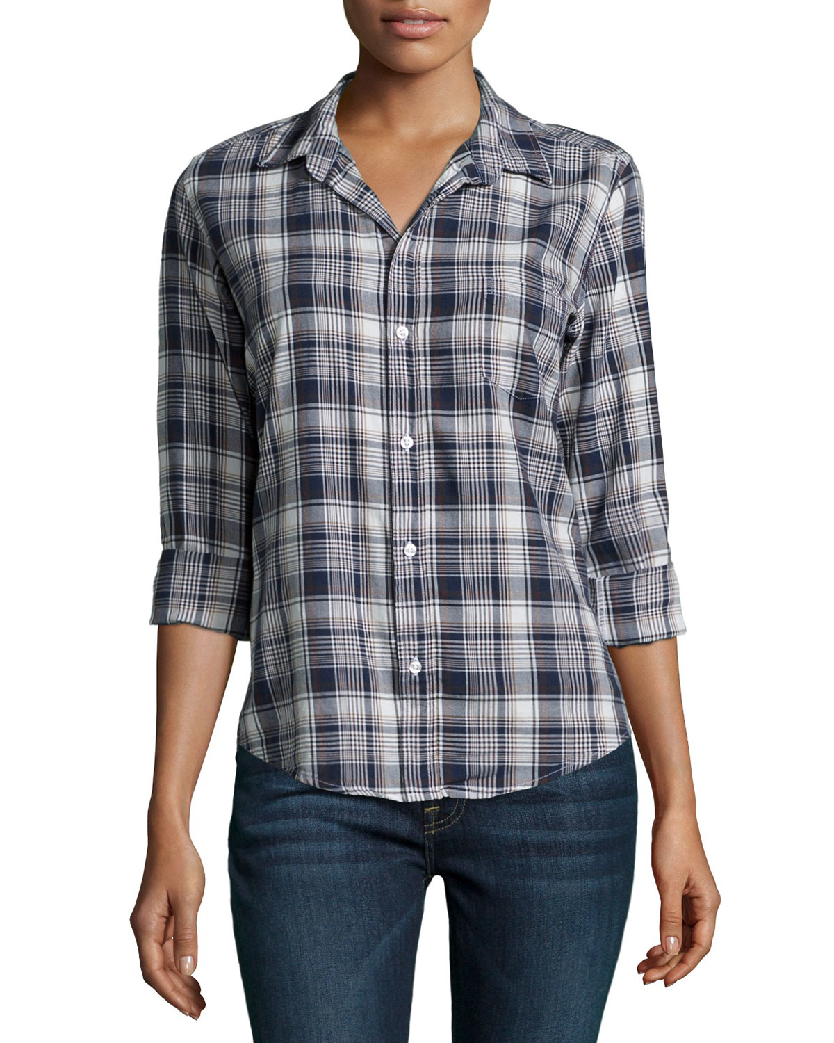 Frank Eileen Barry Button Front Plaid Shirt In Blue Lyst