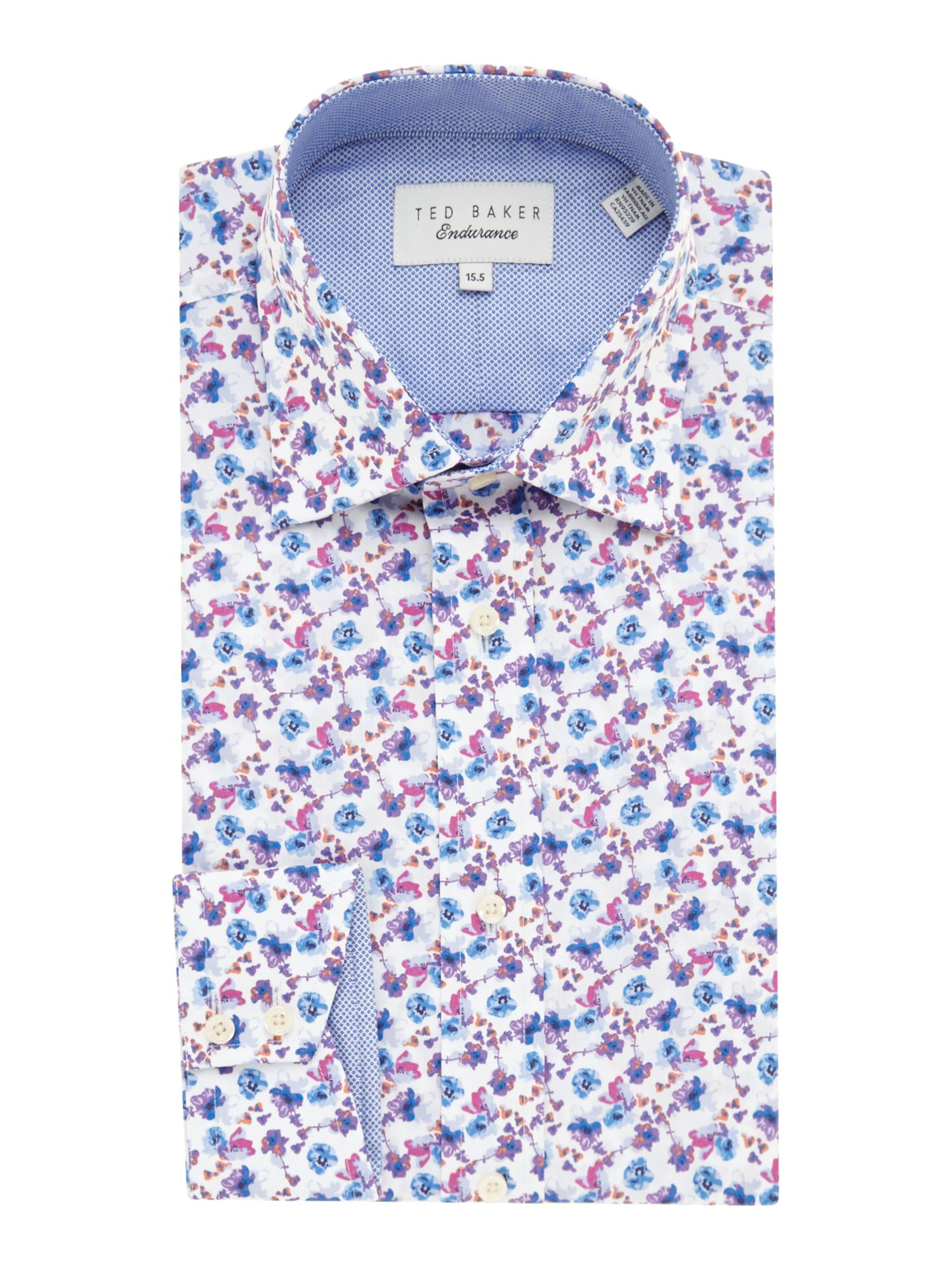 Ted baker wroxall floral regular fit shirt in pink for men for Ted baker floral shirt