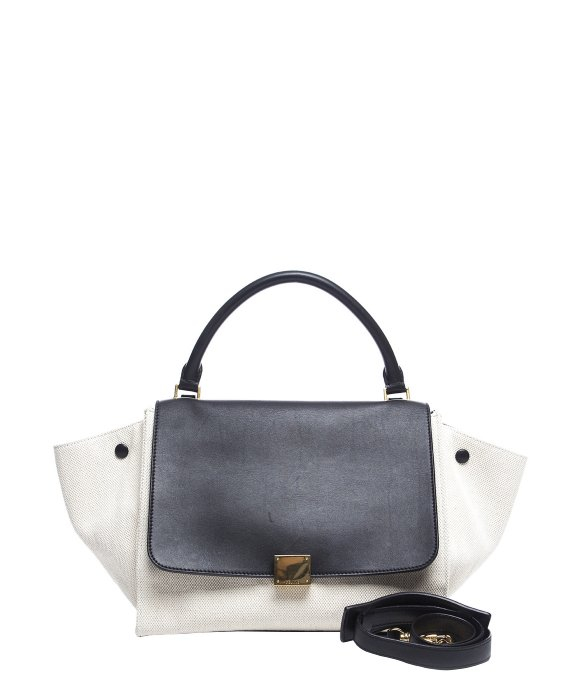 C¨¦line Pre-owned Black Leather White Canvas Trapeze Bag in White ...