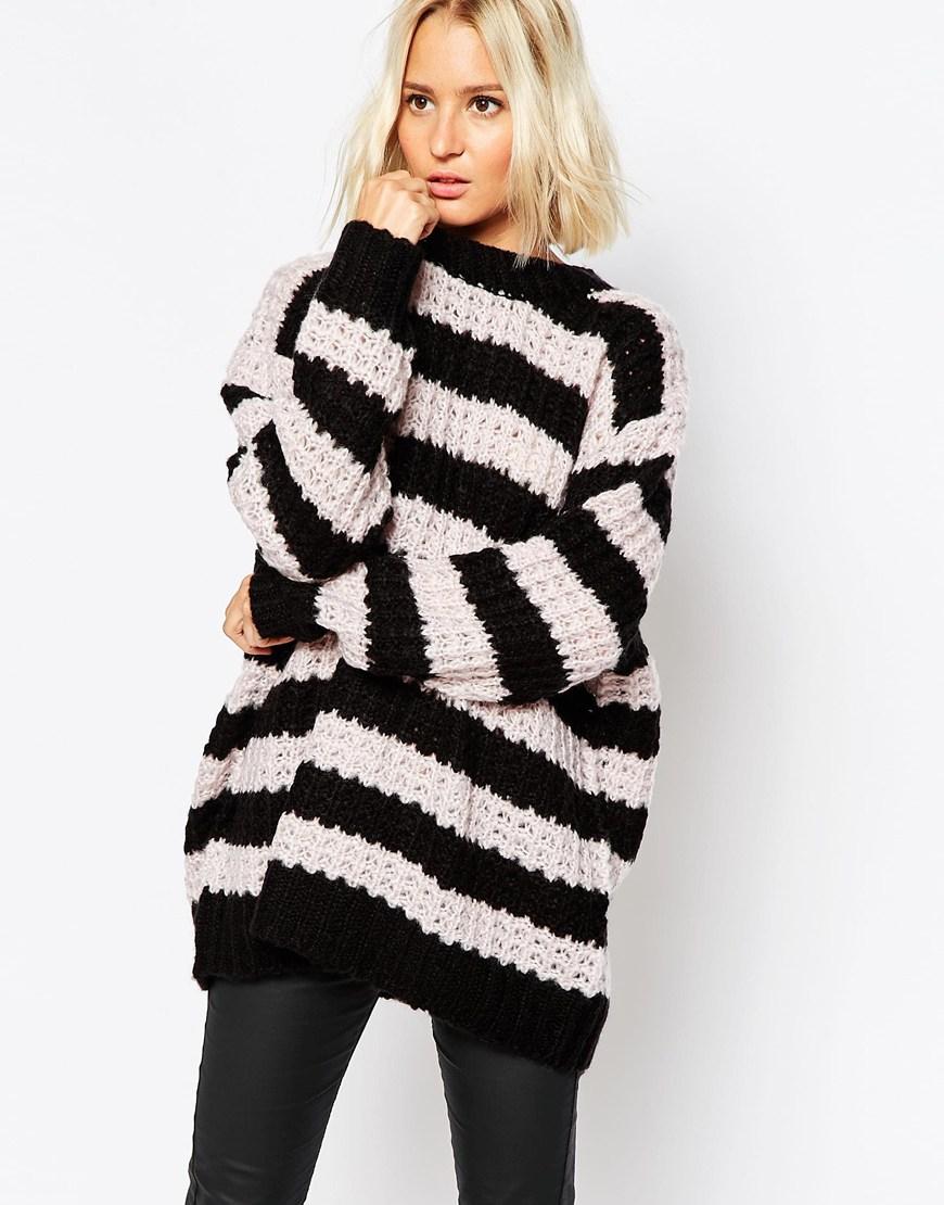 Cheap monday Chunky Stripe Knit Jumper | Lyst