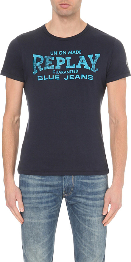Replay logo print cotton jersey t shirt in blue for men lyst for Replay blue jeans t shirt