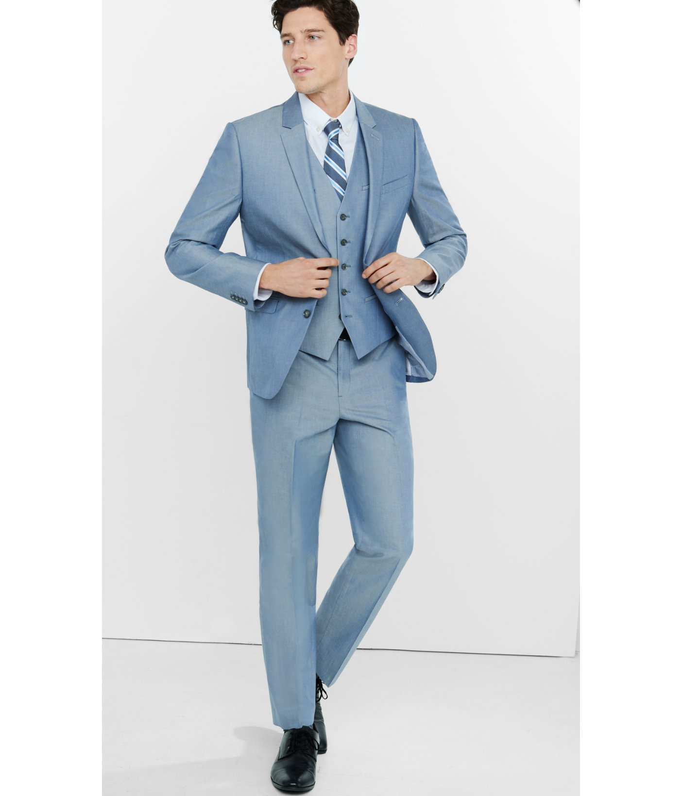 Lyst - Express Modern Producer Blue Oxford Cloth Suit Pant in Blue ...