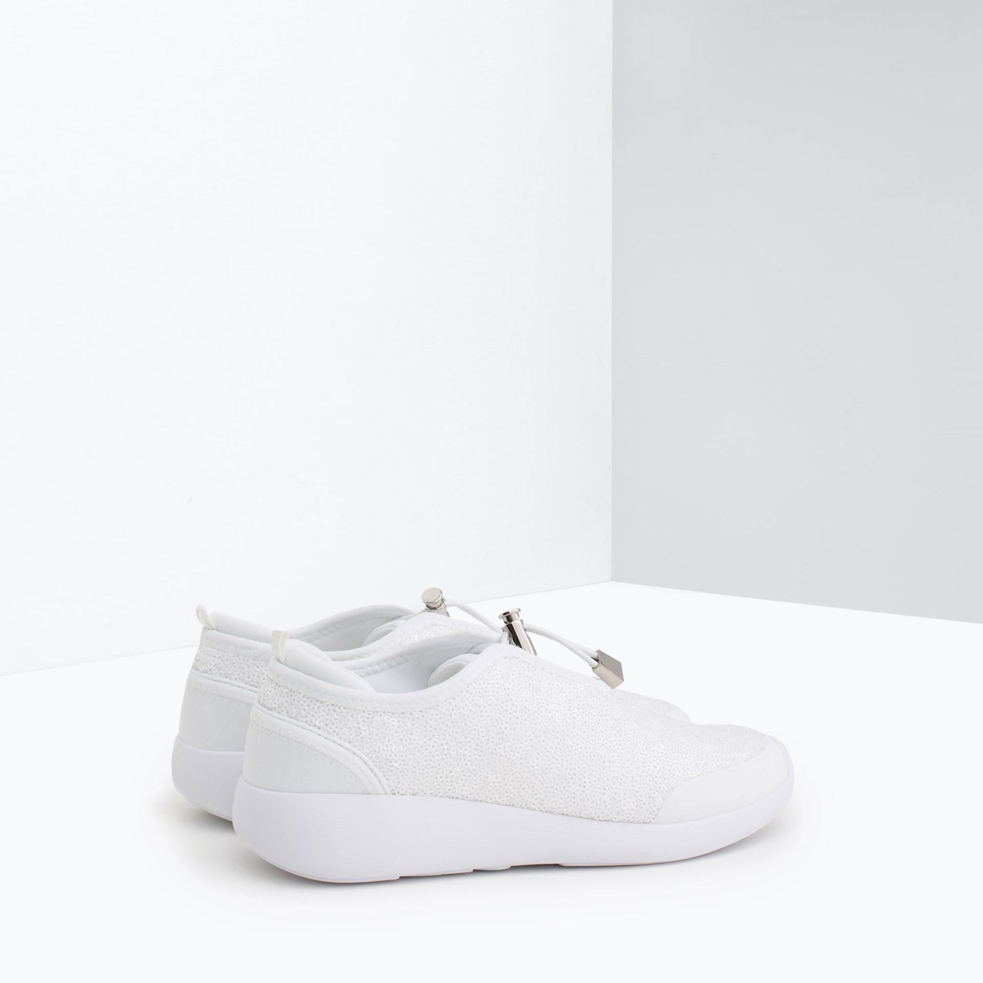 zara sequin sneakers in white lyst