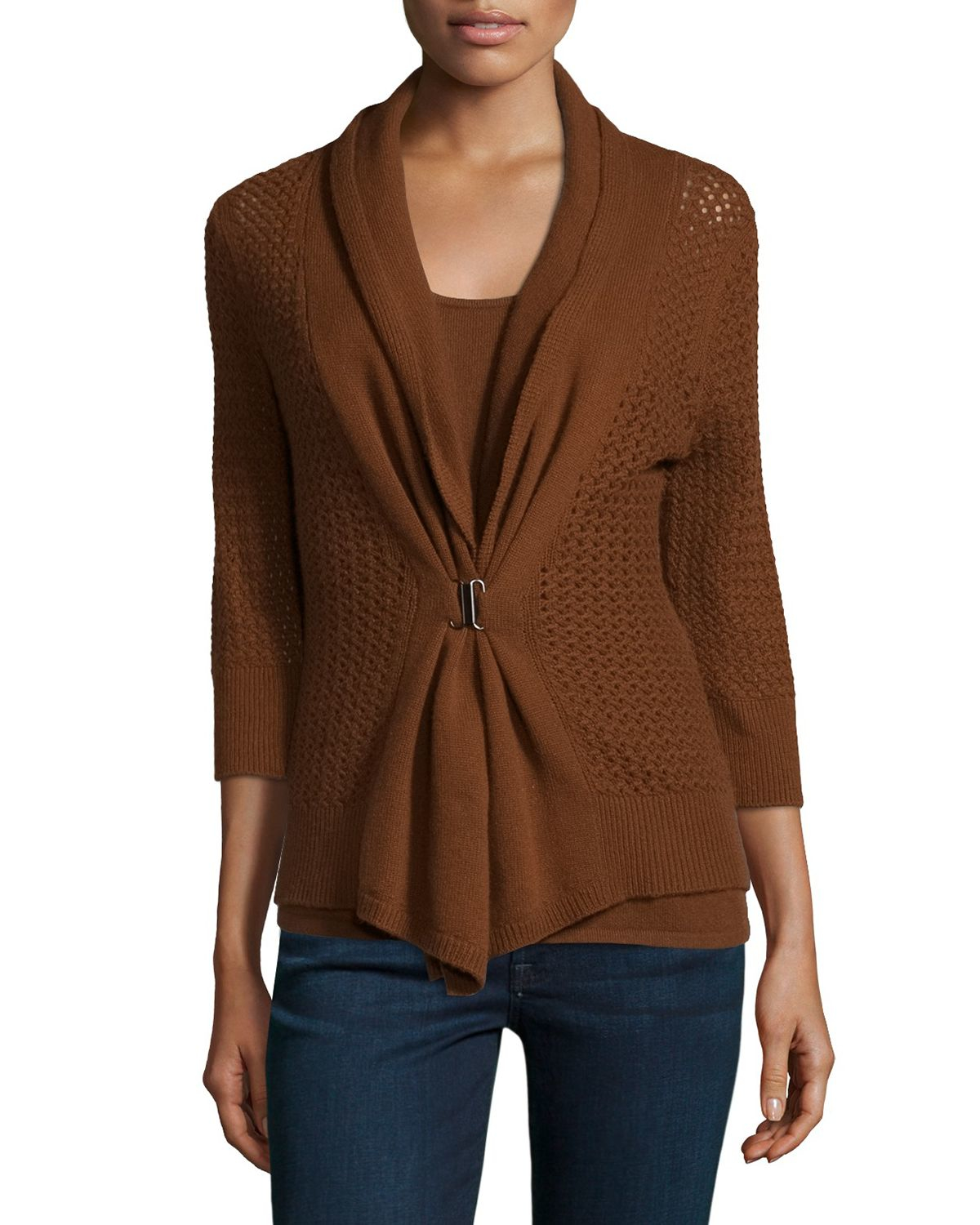 Neiman marcus Open-weave Buckle-front Cashmere Cardigan in Brown ...