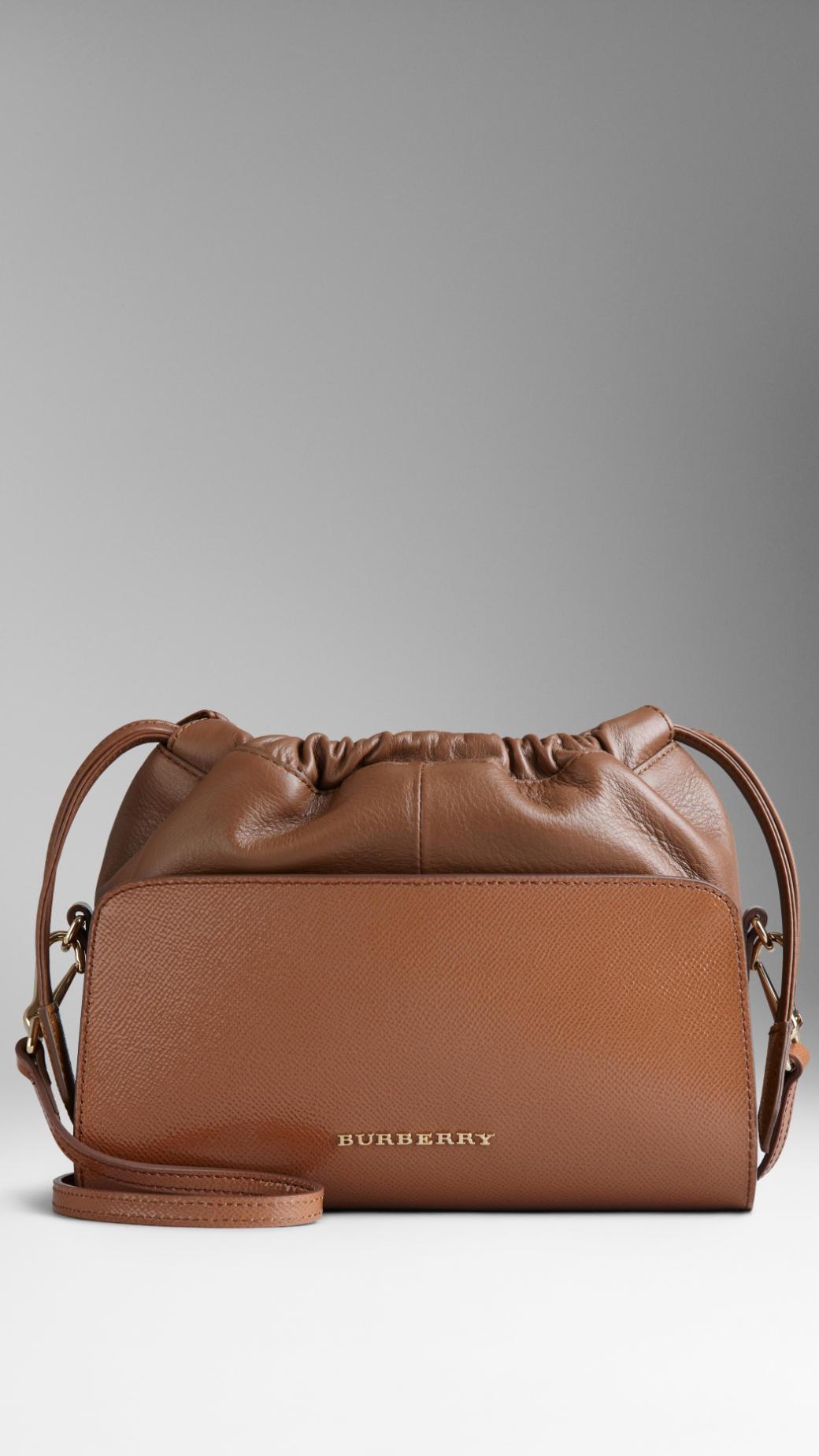 b0acb022e171 Burberry Mini Patent London Leather Crossbody Bag in Brown - Lyst