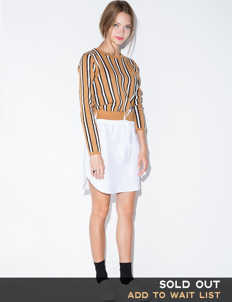 Pixie market stripe sweater shirt dress in beige camel for Dress shirt with sweater
