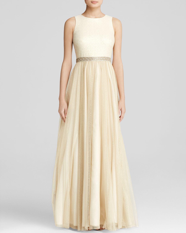 Lyst - Aidan Mattox Gown - Sleeveless Beaded Waist Metallic Tulle ...