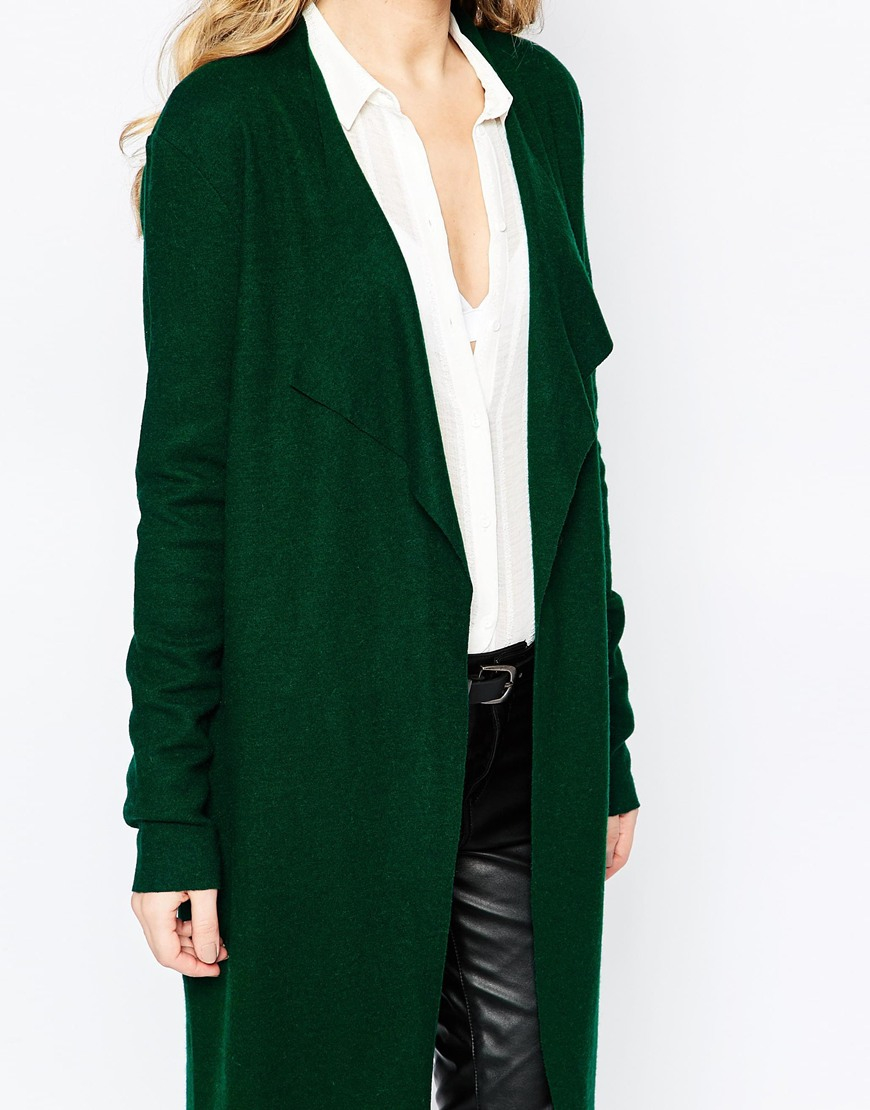 Y.a.s Evita Long Wool Cardigan in Green | Lyst