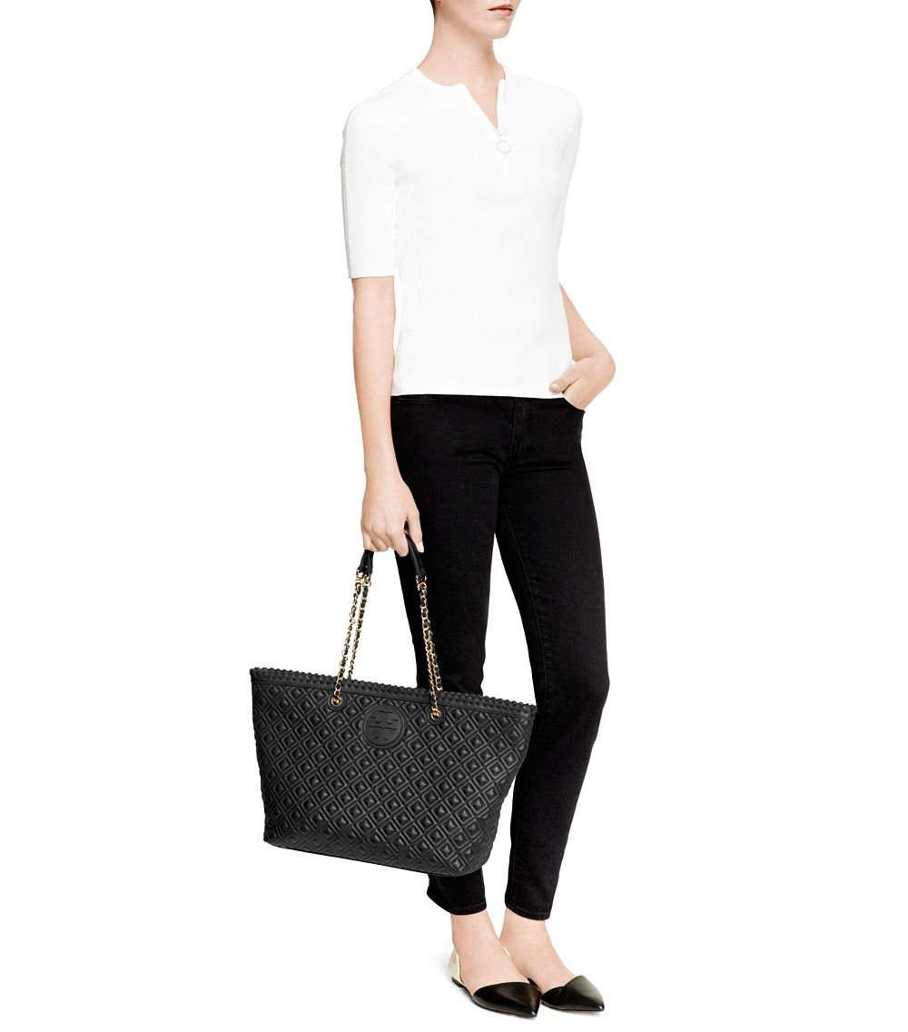 Tory Burch Marion Quilted Small Tote In Gray Lyst