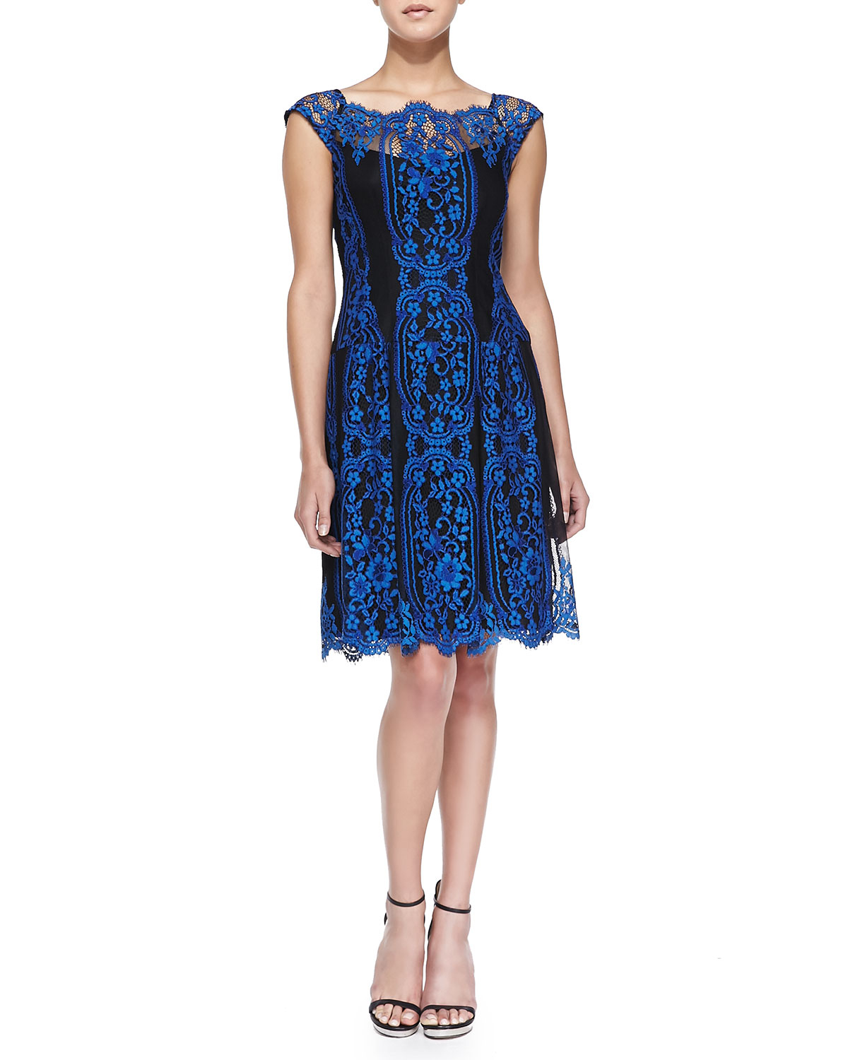 Nanette lepore Lace Cap-Sleeve Burlesque Dress in Blue  Lyst