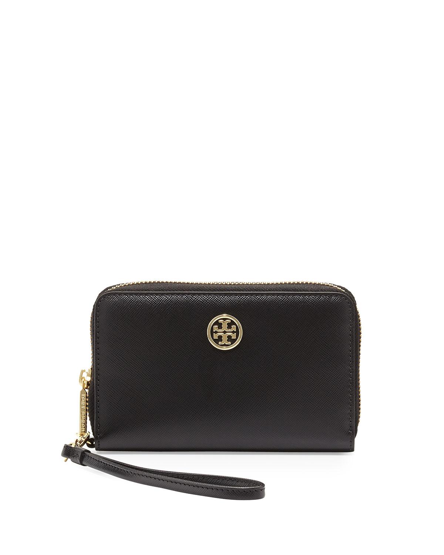 d21639b43180 Lyst - Tory Burch Robinson Smartphone Wristlet Wallet in Black