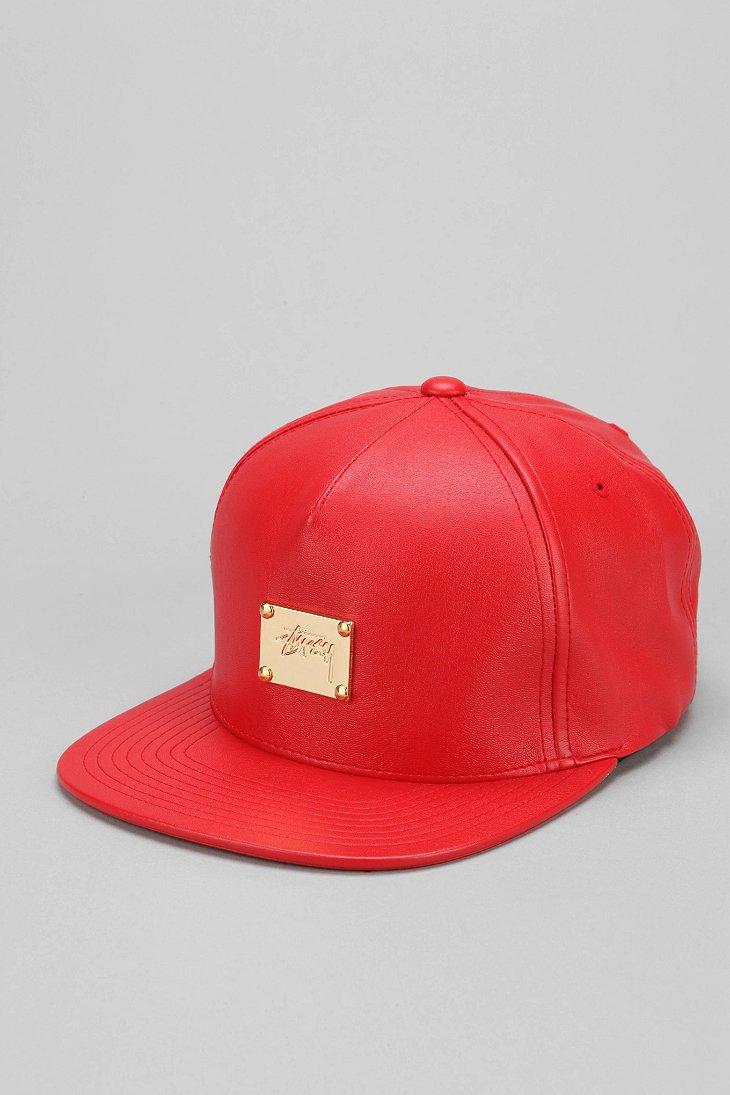 ... reduced lyst stussy lux fauxleather snapback hat in red for men c184f  da8ac df5d66669768