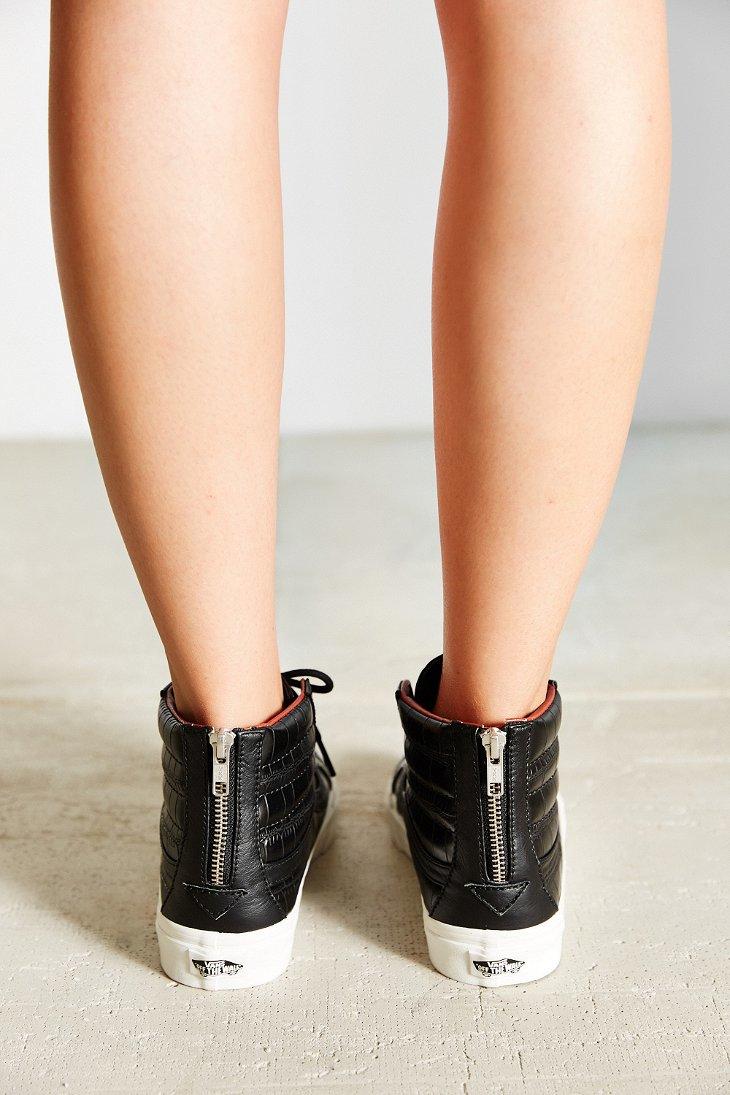 Lyst - Vans Sk8-hi Croc Leather Slim Sneaker in Gray 3c01d10bb