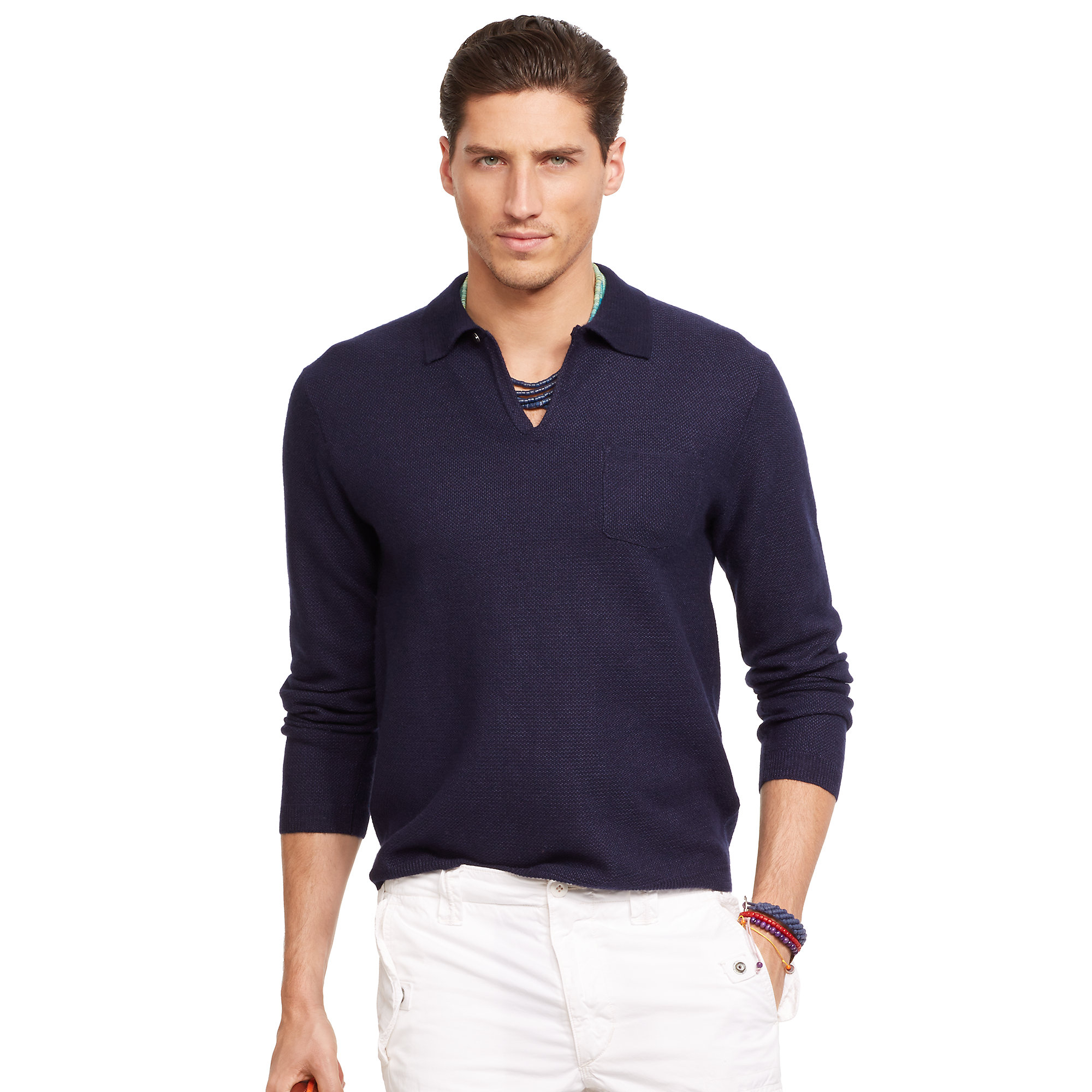 Polo ralph lauren Linen-cashmere Sweater Polo in Blue for Men | Lyst