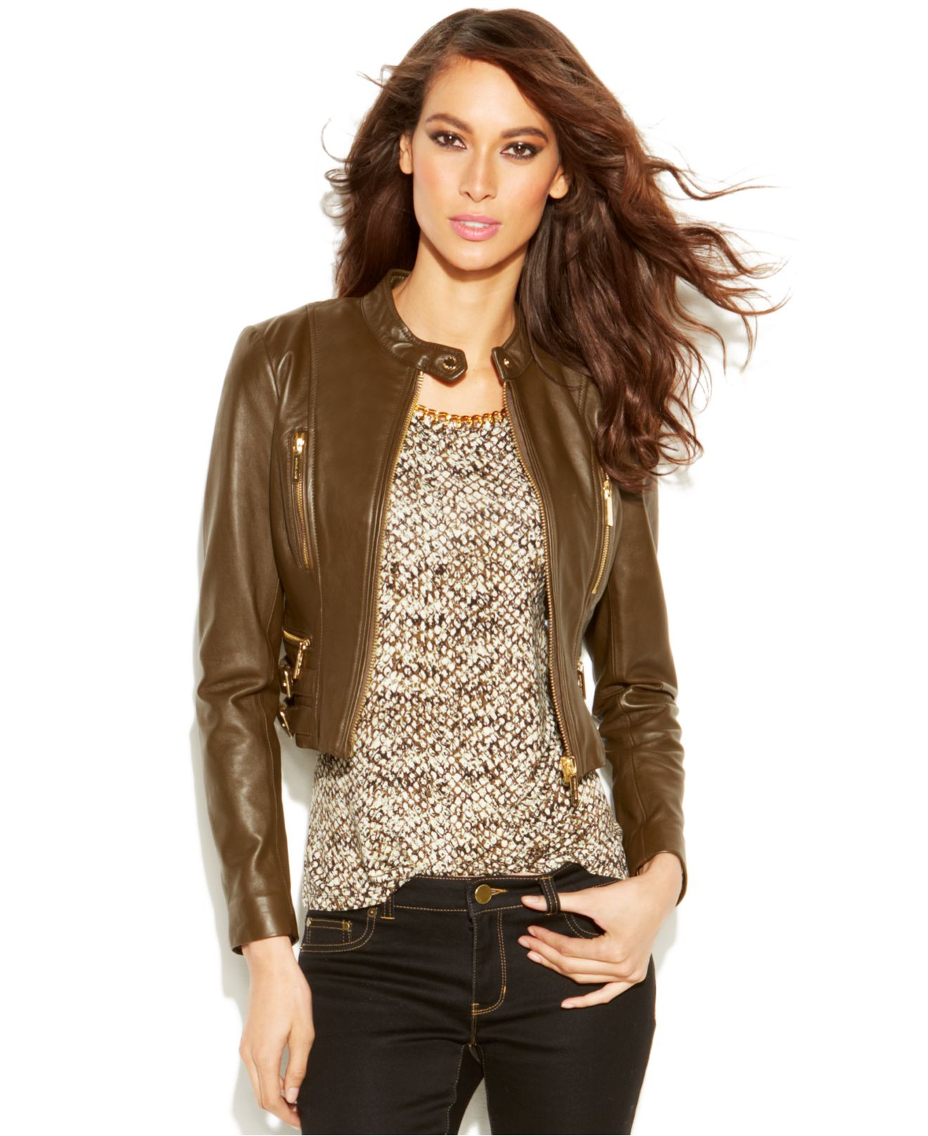 Michael kors Michael Cropped Leather Moto Jacket in Brown | Lyst