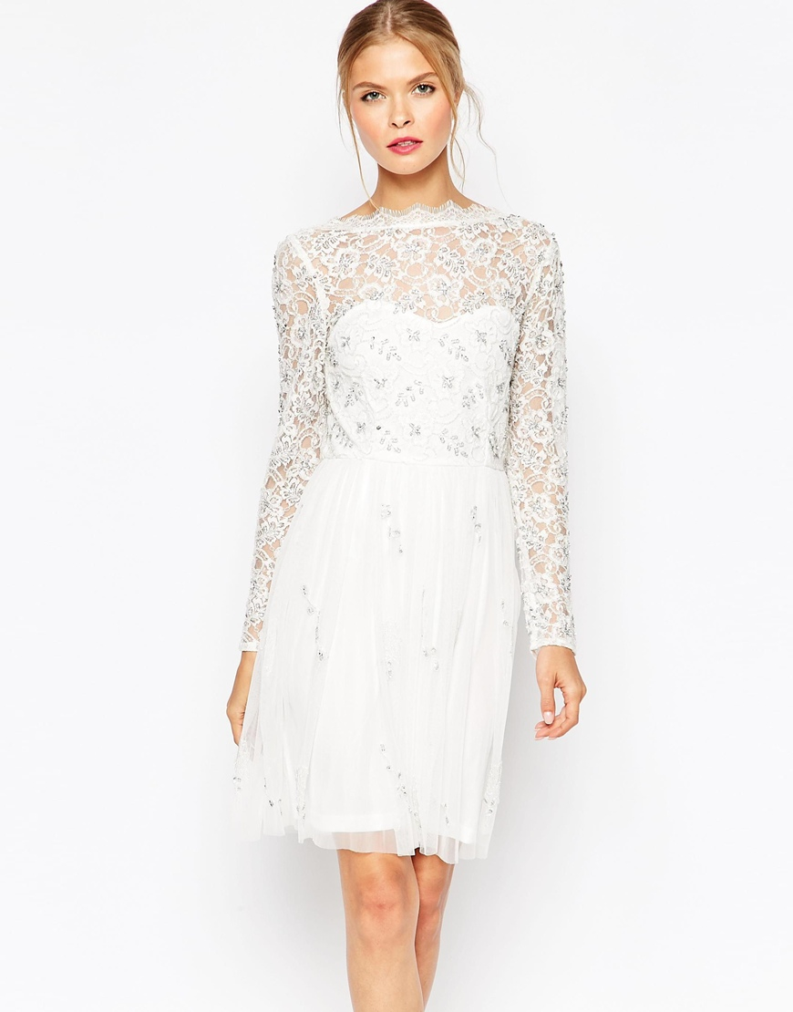 frock and frill lace skater dress in white lyst. Black Bedroom Furniture Sets. Home Design Ideas