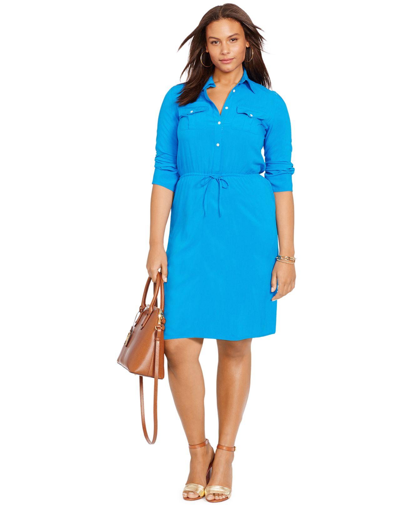 Lyst Lauren By Ralph Lauren Plus Size Drawstring Shirtdress In Blue