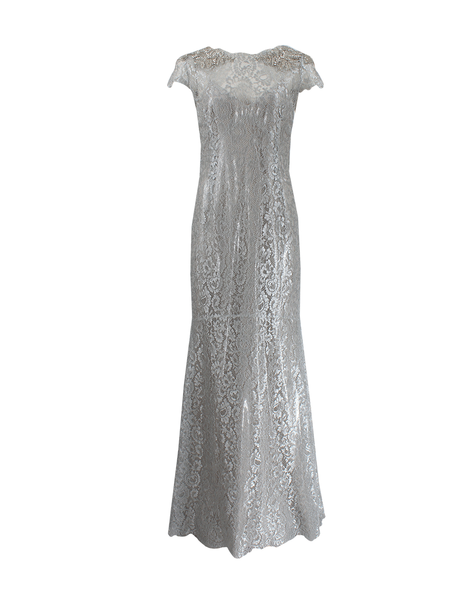 marchesa beaded shoulder column gown in silver lyst