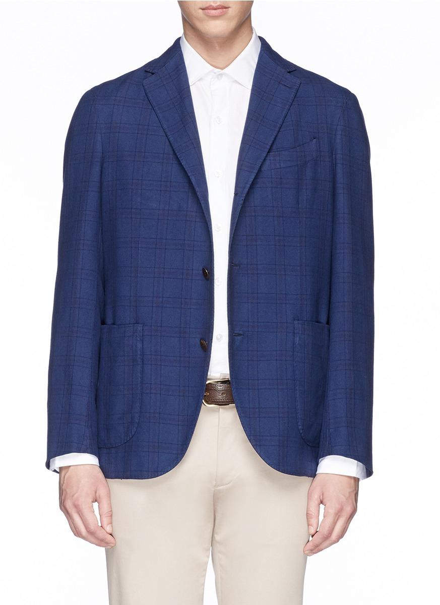 Boglioli Check Plaid Cotton Blazer in Blue for Men