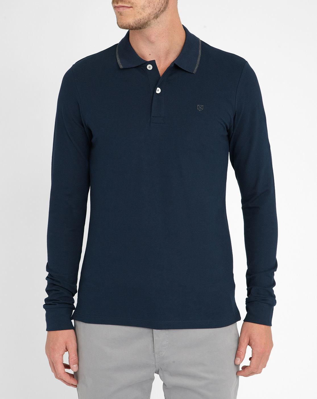 Jack Jones Navy Long Sleeve Polo Shirt In Blue For Men
