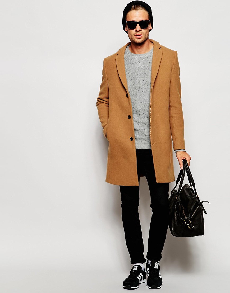 Selected Cashmere Overcoat in Brown for Men | Lyst
