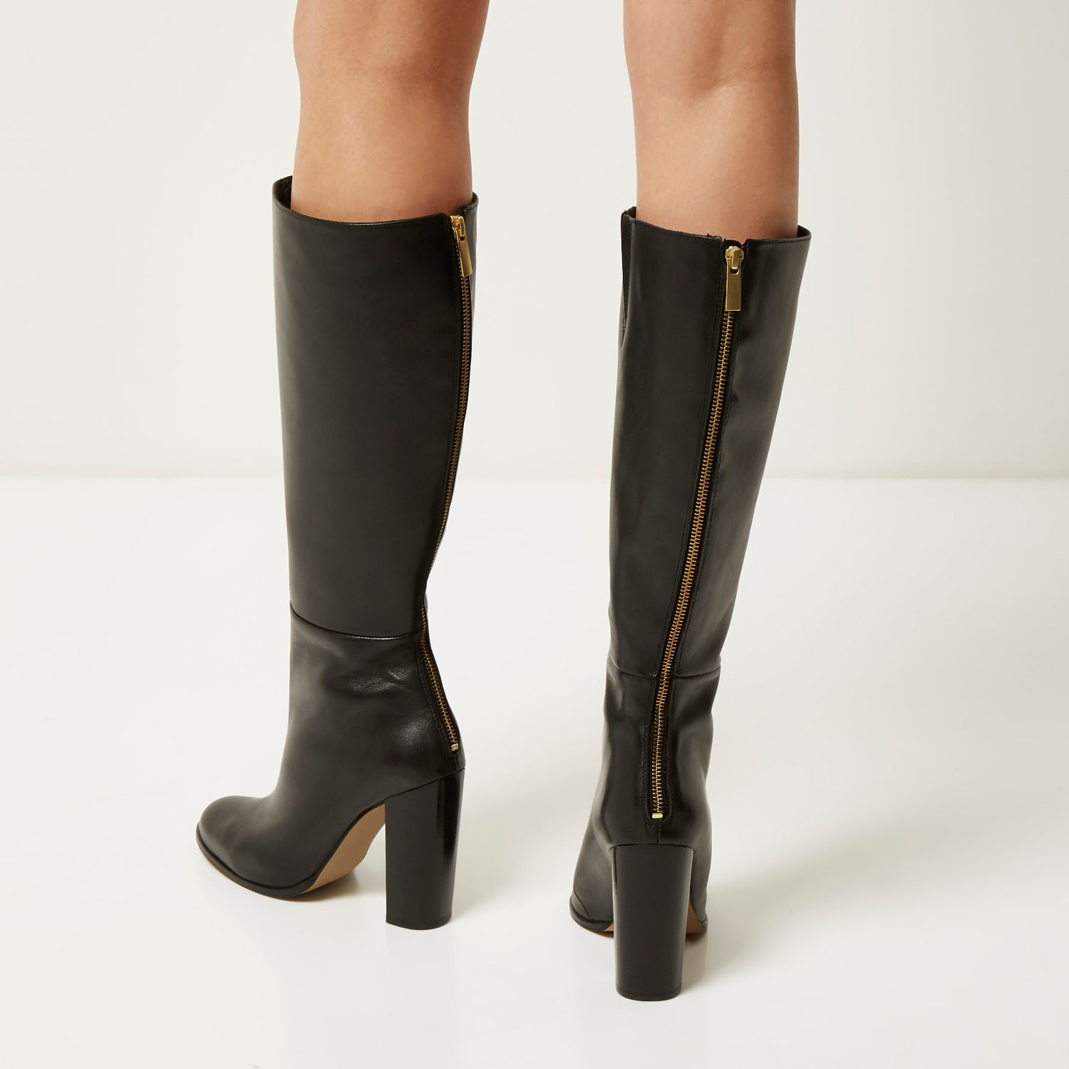 9cef98881b5 Lyst - River Island Black Leather Knee High Heeled Boots in Black