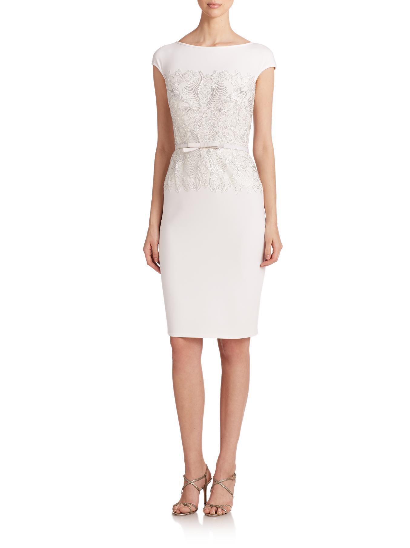 tadashi shoji belted lace bodice sheath dress in white