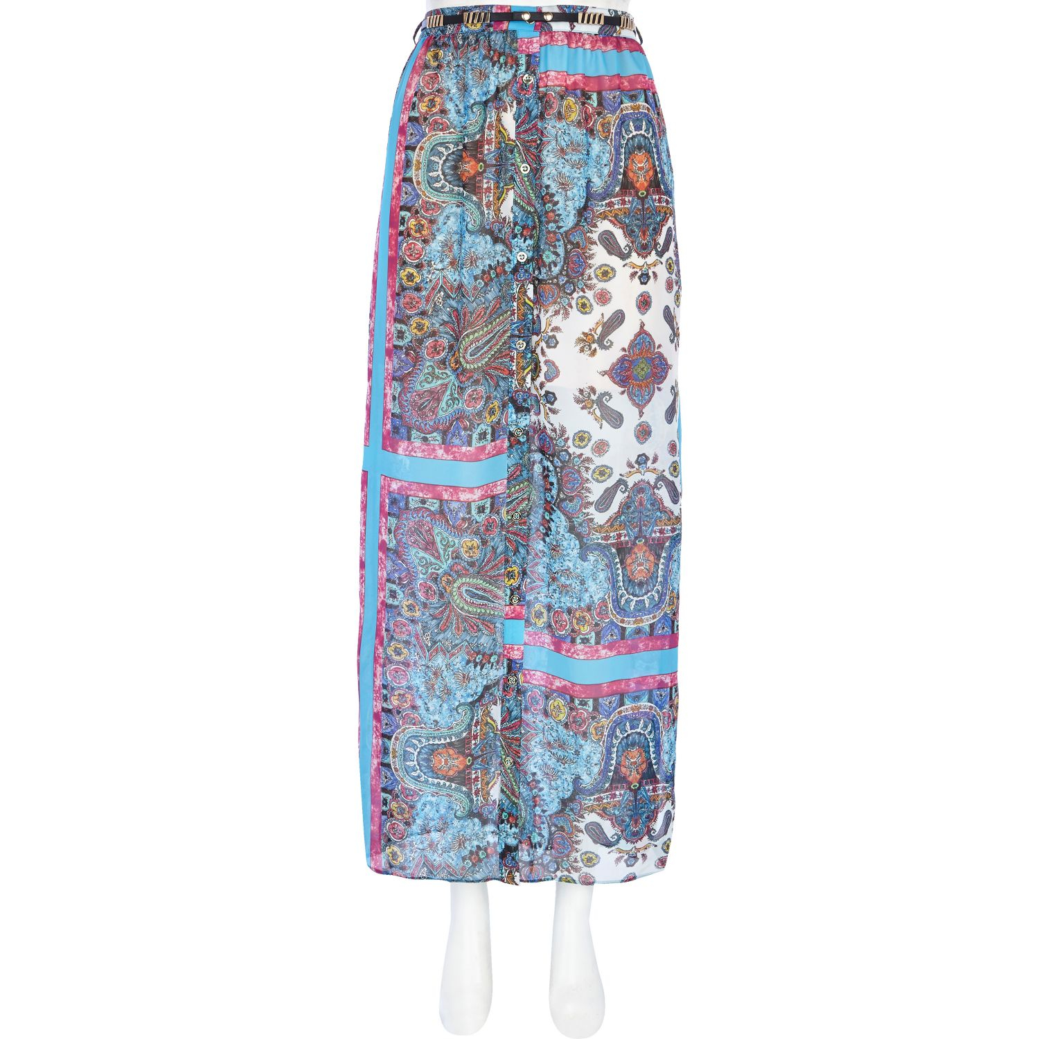 river island blue paisley border print maxi skirt in blue
