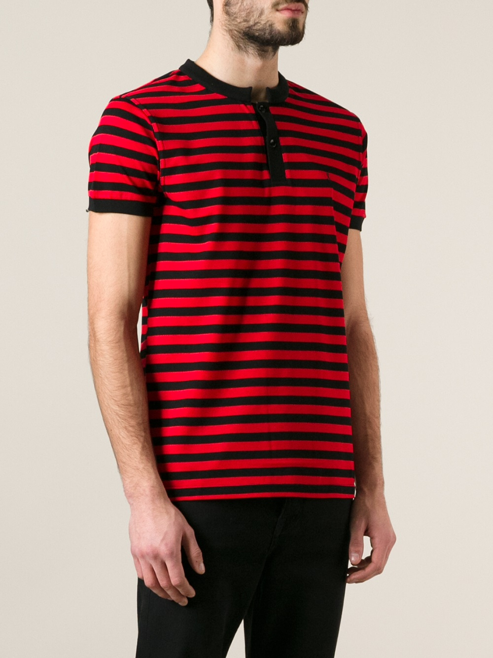 Lyst saint laurent striped polo shirt in red for men for Red white striped polo shirt